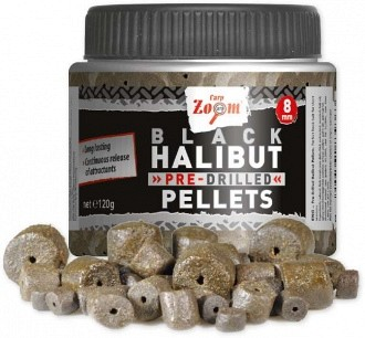 Feeder Cometition Pre-Drilled (fúrt) Black Halibut Pellets (Carp-Zoom)